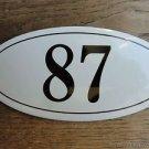 ANTIQUE STYLE ENAMEL DOOR NUMBER 87 HOUSE NUMBER DOOR SIGN PLAQUE
