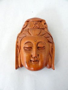 BEAUTIFUL HAND CARVED WOODEN BOXWOOD NETSUKE OF THE FACE OF A GODDESS RJ1