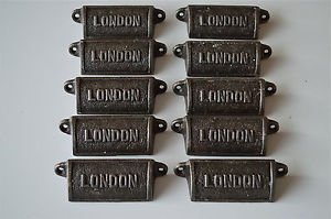 10 vintage cast iron London drawer pull handles chest handle LON