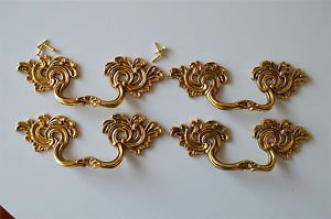 4 superb large solid brass Rococo drawer handle Louis XV furniture pull 2005