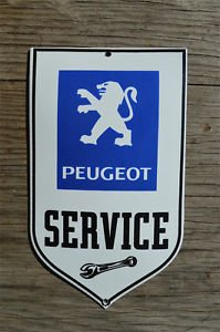 Superb heavy quality porcelain advertising sign Peugeot service garage plaque