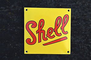QUALITY ENAMEL SHELL OIL SIGN PLAQUE VINTAGE STYLE GARAGE WALL SIGN SQUARE