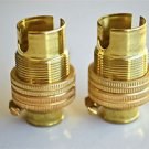 2 BRASS SMALL BAYONET B15 FITTING BULB HOLDER LAMP C/W SHADE RING 1/2 INCH R2