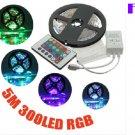 300LED 3528 SMD RGB Non Waterproof Strip Light 12V DC 24Key Remote Controller 5M
