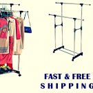 Garment Rack Double Drying Portable Adjustable Shelf Clothes Hanger Wheels Lock
