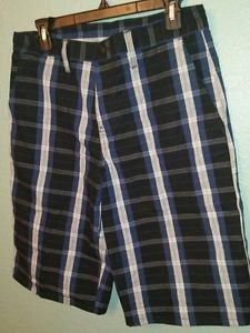 Mens Dickies Blue Gray Plaid Relaxed Fit Multi Pocket Work Shorts Size 30 USED