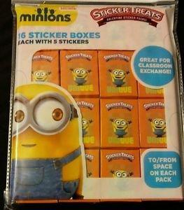 MINIONS VALENTINE STICKER PACKS 16 STICKER BOXES 2 PACK NEW!!!