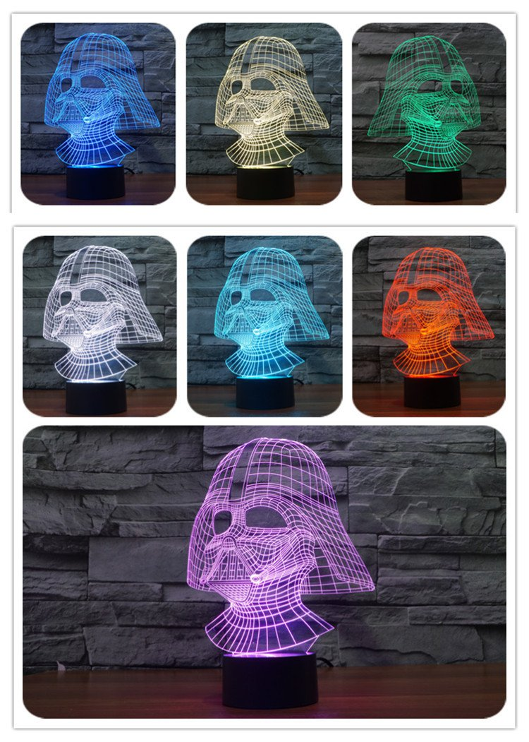Star Wars 7 color changing visual illusion LED lamp Darth Vader