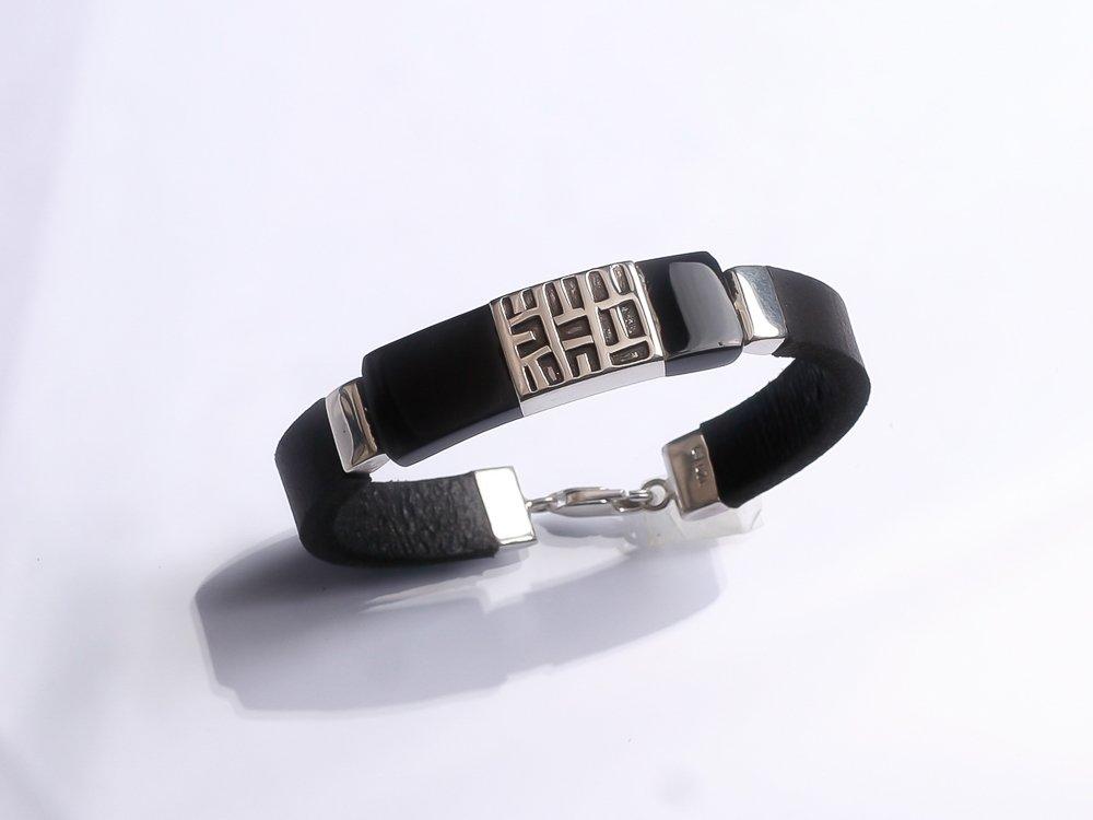 Sterling silver bracelet Black leather bracelet Gift for her. Gift for him.