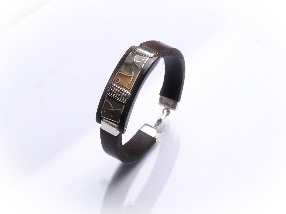 Sterling silver men unisex bracelet Dark brown leather bracelet Turquoise inlay
