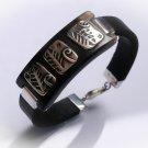925 Sterling silver Black leather bracelet . Gift for her. Unusual leather bracelet.