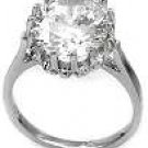 Oval Solitaire 4 ct CZ Sterling Silver Engagement Ring