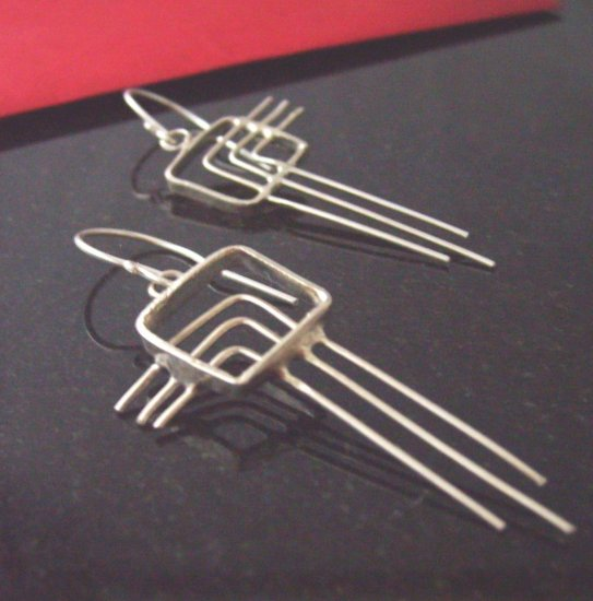 Sterling Silver Art Deco Style Ice Earrings