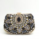 Women's Crystal Evening Clutch in Metal with Silver Beads