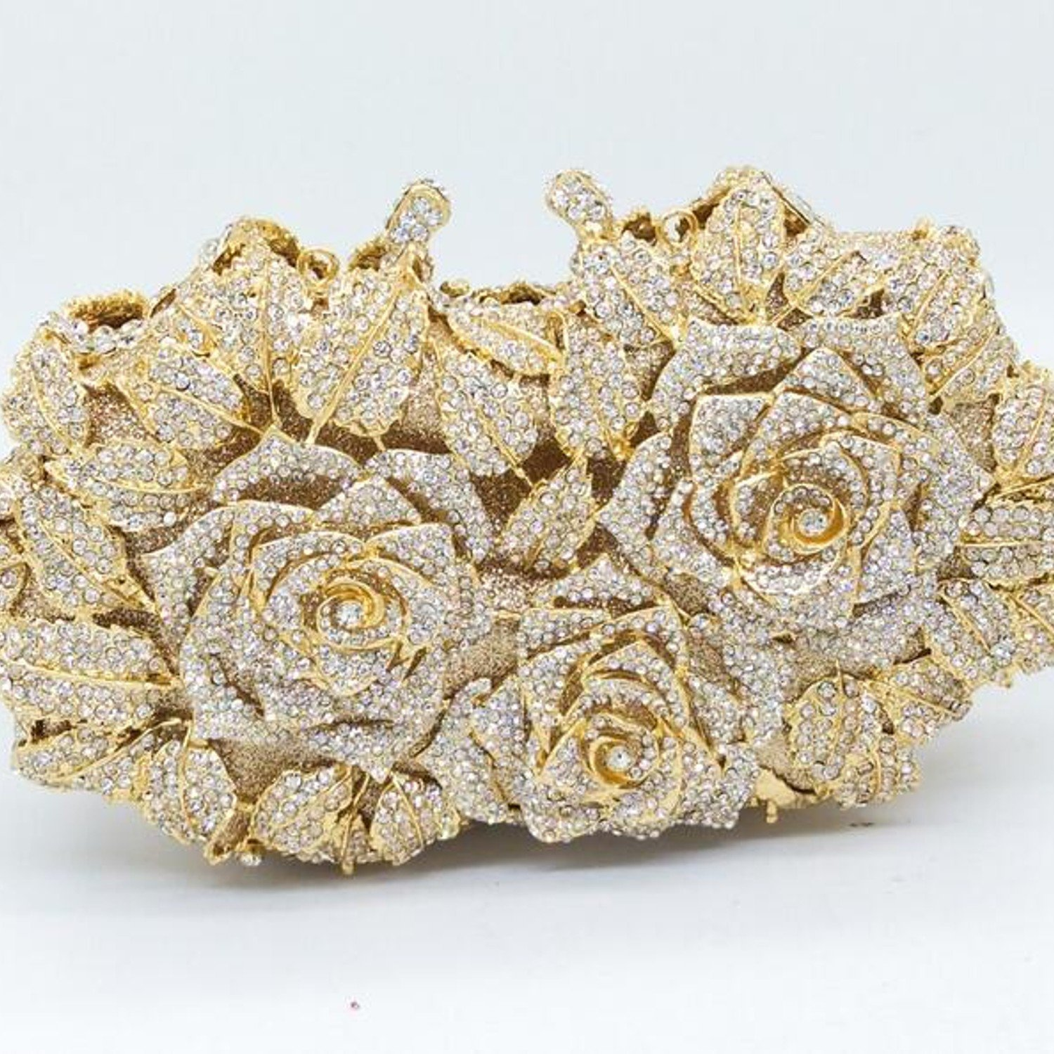 Women's Gold Plating Rose Evening Clutch in Metal with Crystal