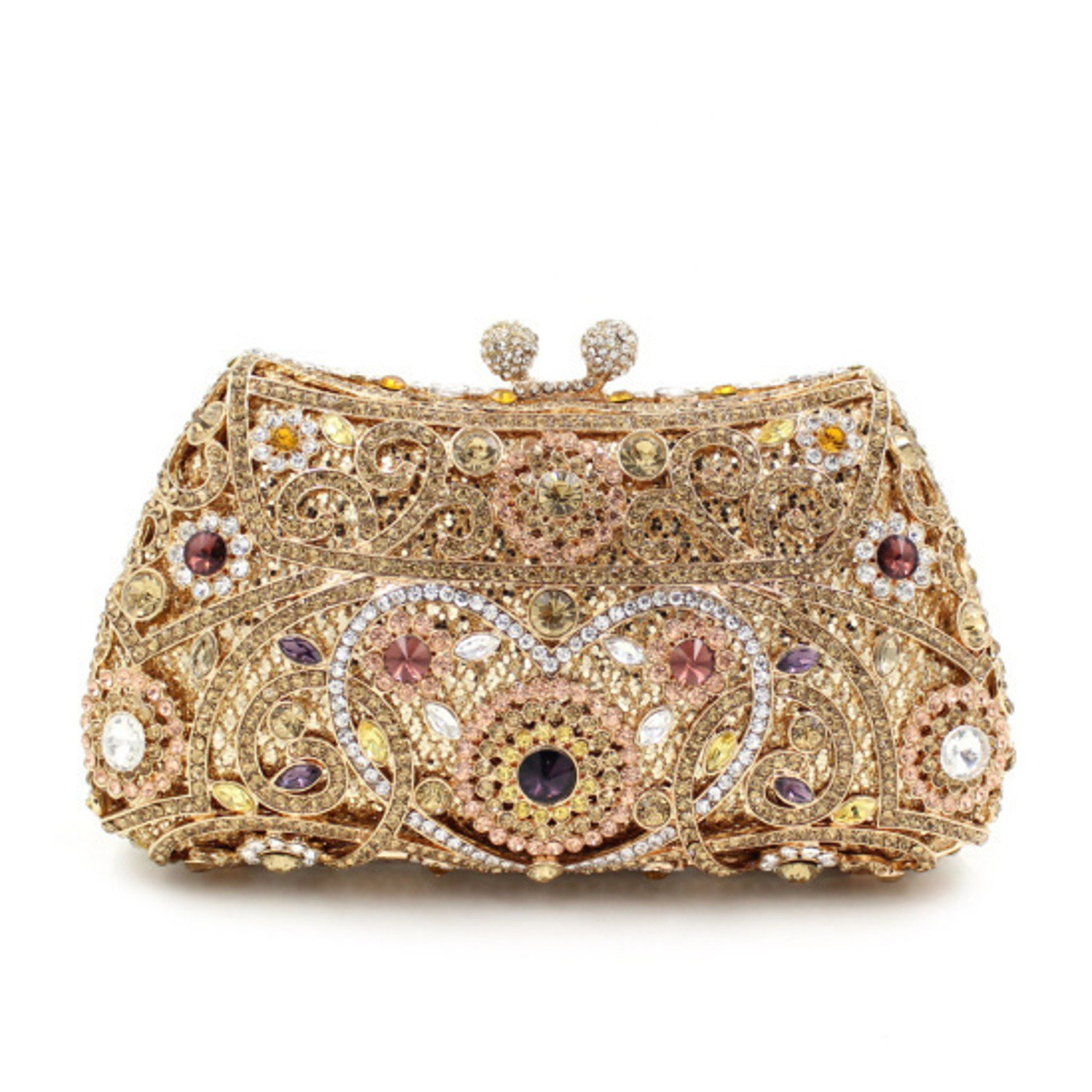 Women's Gold Plating Evening Clutch in Metal with Crystal
