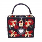 Women's Embroidered Red Rose Beaded Shoulder Bags