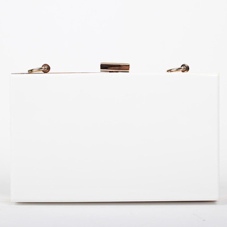 Women's Acrylic Box Evening Clutch Milk White