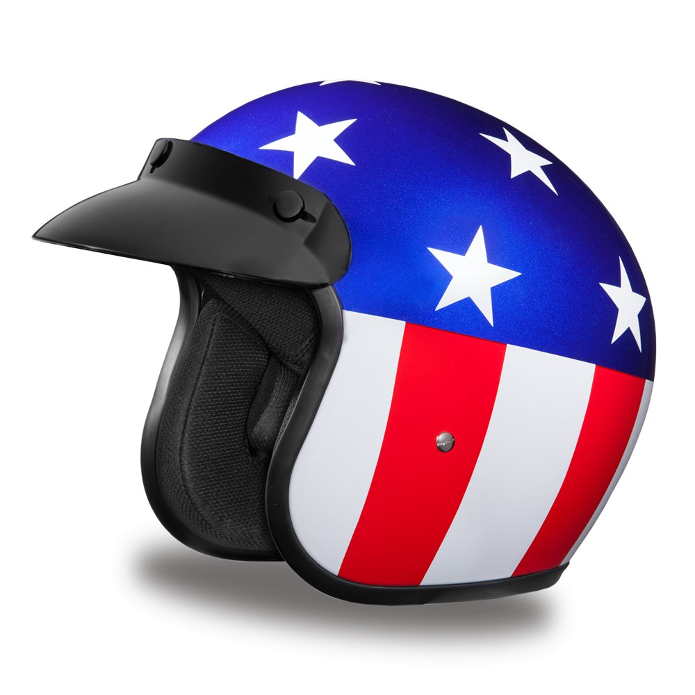 New Daytona Helmets CRUISER- W/ US CAPTAIN AMERICA Motorcycle DOT Helmet DC6-CA