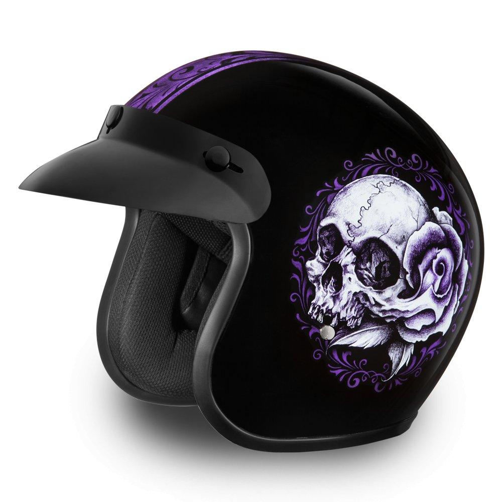Daytona Helmets Cruiser -W/ FLORAL SKULL DOT Motorcycle Helmet All sizes DC6-FLS