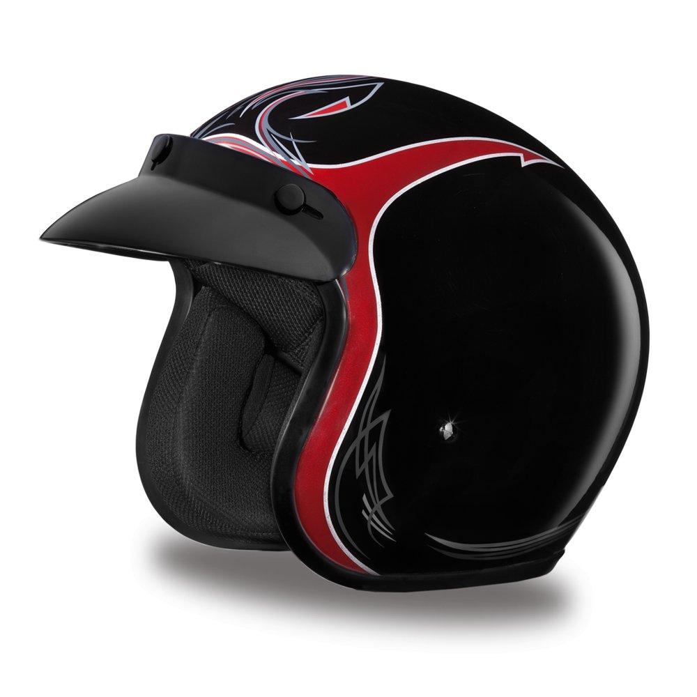 New Daytona Cruiser Black Pinned Cherry 3/4 Shell DOT Motorcycle Helmet DC6-PBC