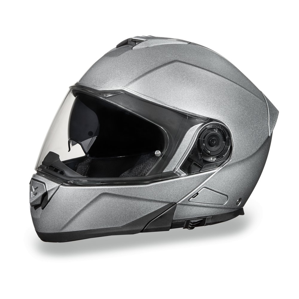 New Daytona Helmets Glide DOT Silver Metallic Flip-Up Motorcycle Helmet MG1-SM