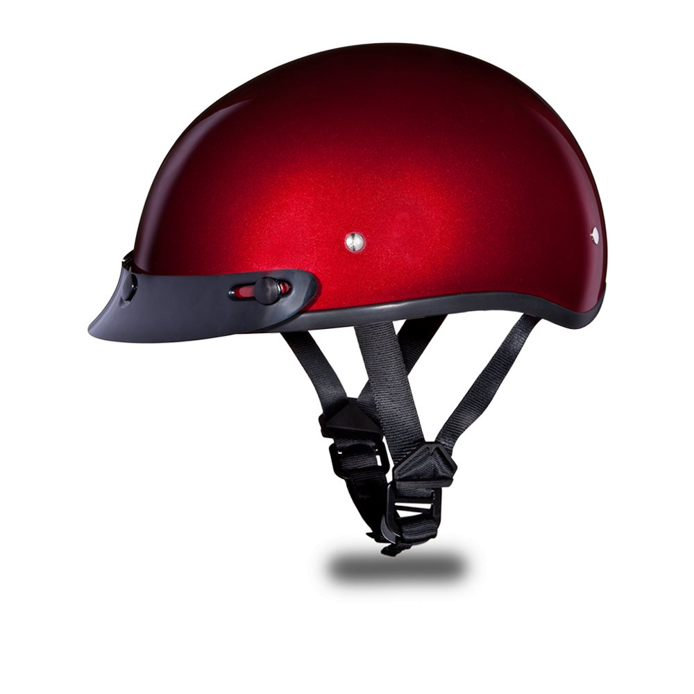 New Daytona Helmets Skull CAP- BLACK CHERRY METALLIC Motorcycle DOT Helmet D1-BC