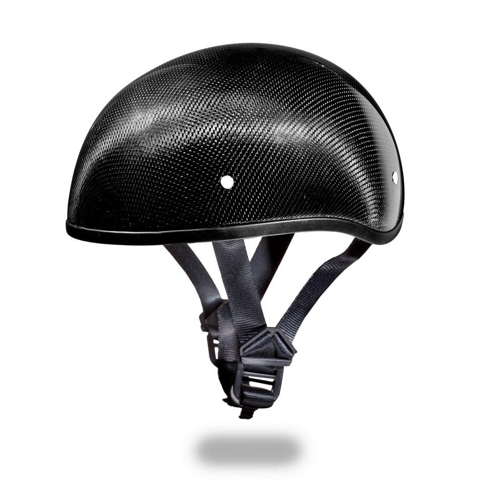 New Daytona Skull Cap W/O VISOR- GREY CARBON FIBER DOT Motorcycle Helmet D2-GNS