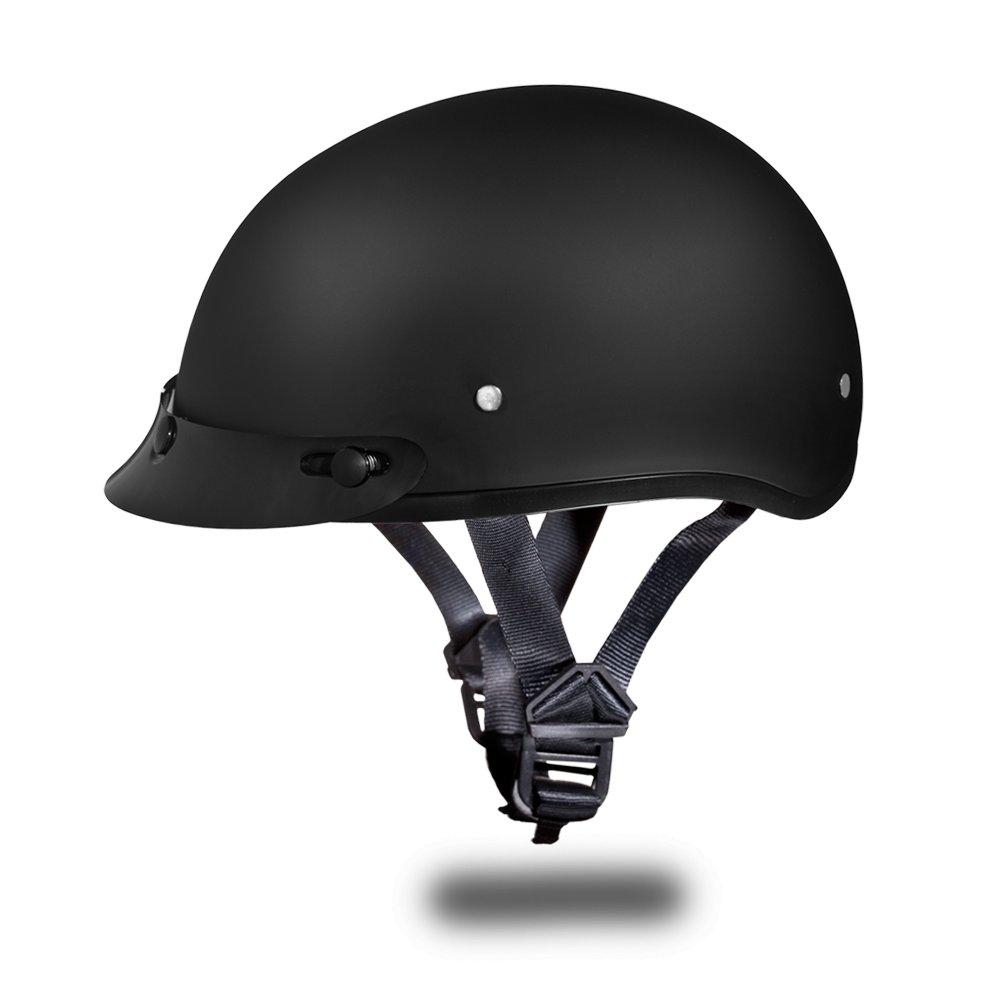Daytona Helmets Skull Cap 1/2 Open Face Dull Black D.O.T. Motorcycle Helmet D1-B