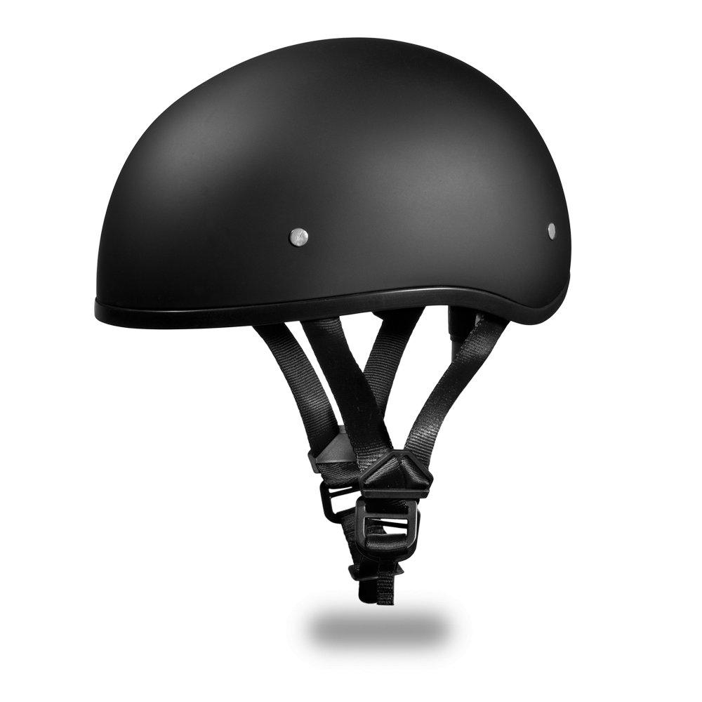 Daytona Helmets Skull Cap W/O Visor- Dull Black Motorcycle DOT Helmet D1-BNS