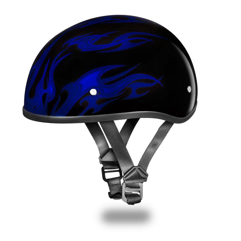 Brand New Daytona Skull CAP W/ FLAMES BLUE DOT Superhero Motorcycle Helmet D6-FB