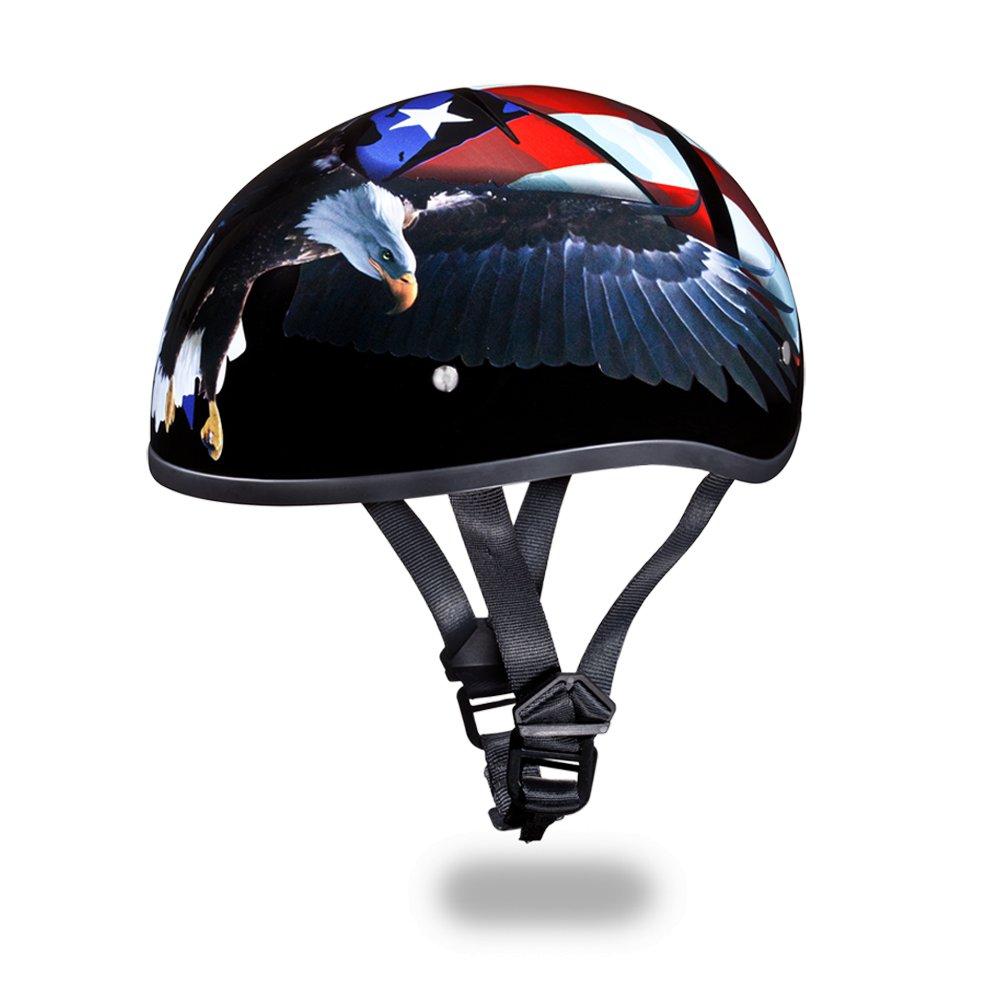 New Daytona Helmets SKULL CAP- Open Face W/ FREEDOM DOT Motorcycle Helmet D6-FR