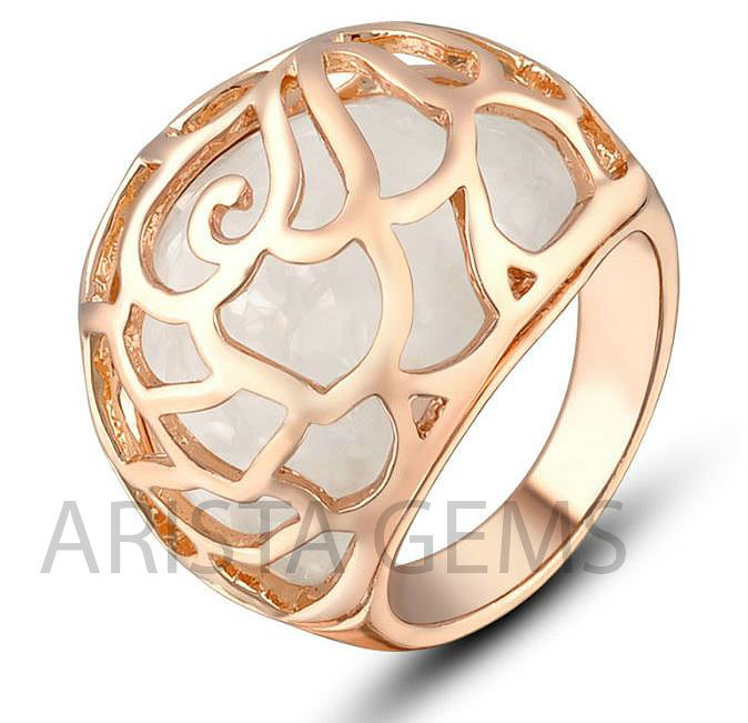 CAT'S EYE GOLD PLATED STONE RING