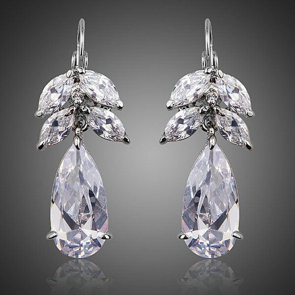 PLATINUM PLATED MULTI-CUT CUBIC ZIRCONIA EARRINGS
