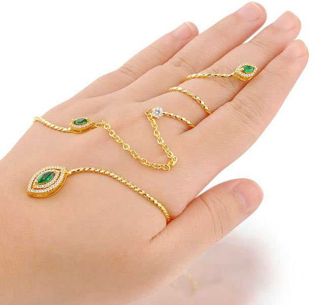 CHAIN PALM RING HAND BRACELET HIGH QUALITY CUBIC ZIRCONIA