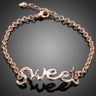 ROSE GOLD PLATED SWEET LETTER FASHION BRACELET