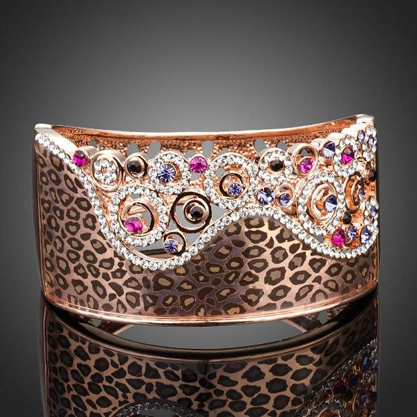 Arista Gems Captivating 18K Rose Gold Plated Austrian Crystals Cuff Bracelet