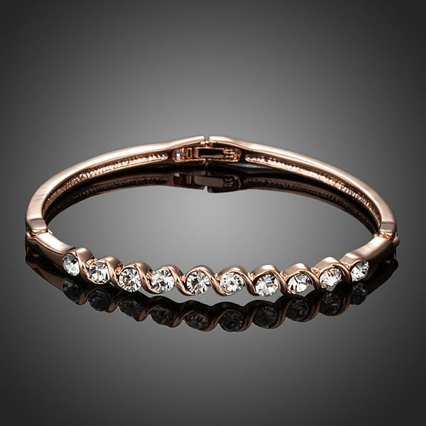 18K Rose Gold Plated 10pcs Clear Stellux Austrian Crystal Bangle