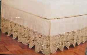 Vintage Crochet Bedskirt Bed Skirt Ruffle NWT Ecru Scalloped New