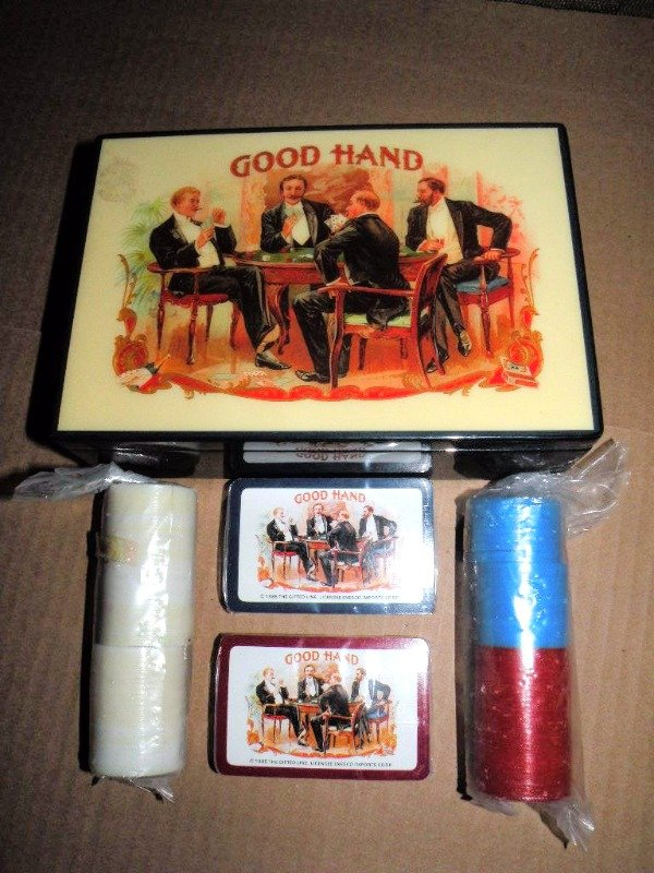 Good Hand Poker Chips & Cards  Box JOHN GROSSMAN /ENESCO Vintage