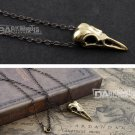 Gothic Punk Copper Bird Head Skul Pendant Necklace Amulet High Quality