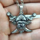 Ashion Retro ANTIQUE SILVER Charm cute pirate skul Pendant & necklace A85