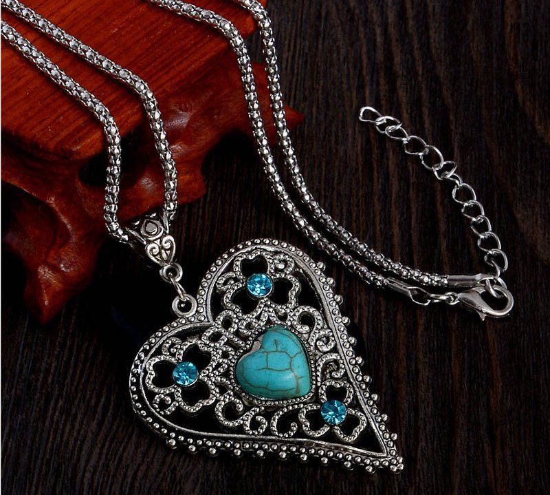 New blue heartstone pendant silver chain crystal vintage heart long necklaces women collier femme