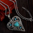 New blue heartstone pendant silver chain crystal vintage heart long necklaces women collier femme