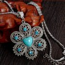 Antique Silver Pendant Necklace Crystal Turquoise Flower Necklace Sweater Chain