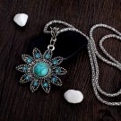 Vintage Style Hollow Crystal Flower Shaped Pendant Retro Turquoise Stone Necklace Beautiful