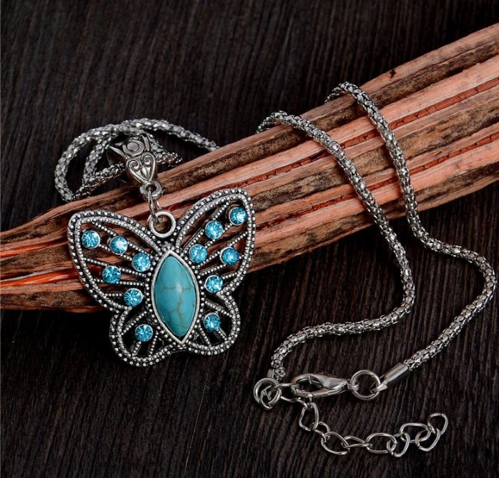 Silver Pendant Necklace Crystal Butterfly Turquoise Long Necklace Sweater Chain