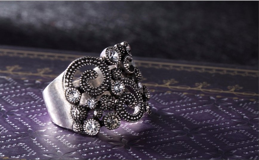 Silver Color Vintage Cocktail Rings Rhinestone Paved Lucky Totem Retro Party Rings Size 8