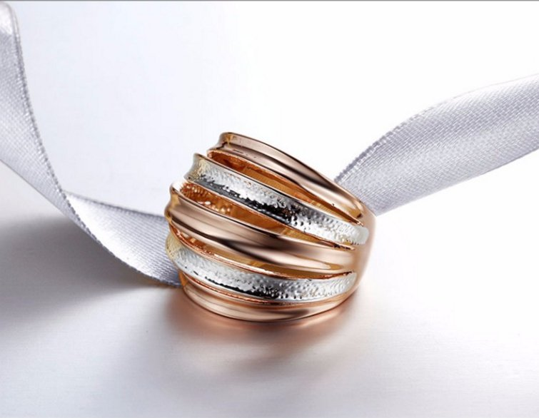 Rose Gold Multi-layered Stack Rings for Women Metallic Finger Ring Female Jewelry Accessories