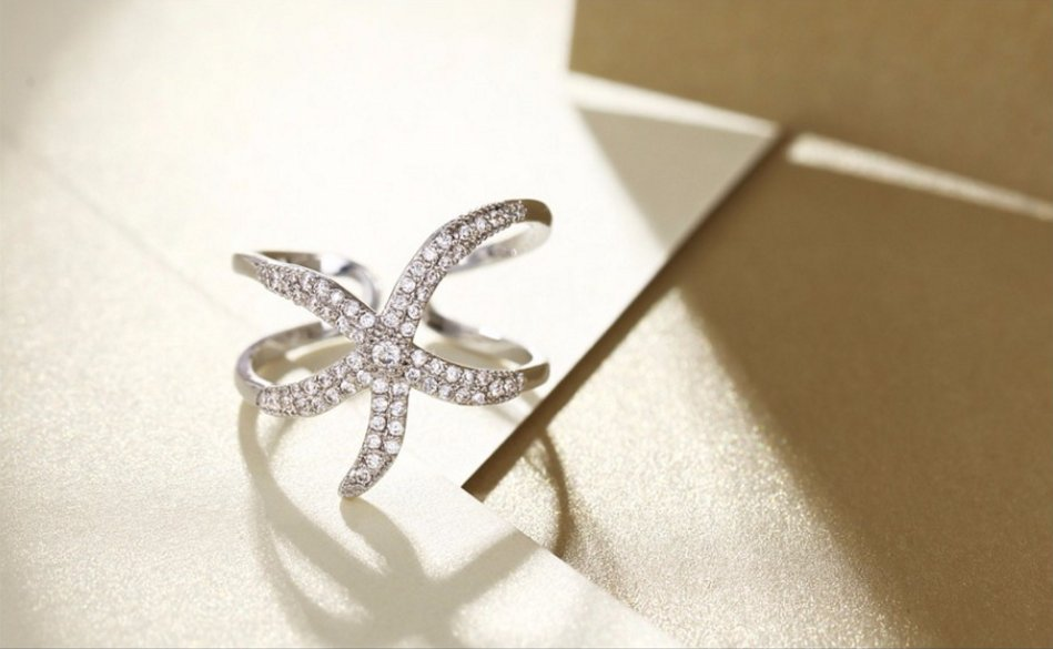 Platinum Plated Copper Starfish Cuff Rings Zircons Wedding Party Finger Ring Adjustable Ring